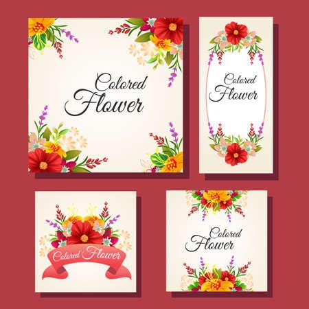 floral colored card frame set Illustration