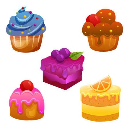five cake sweet collection icon set