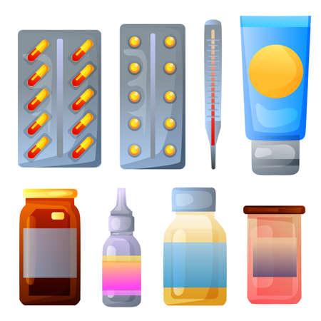 various medicine and drugs bottle Illustration