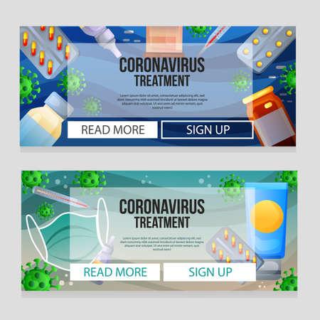 two coronavirus covid-19 treatment web banner Illustration