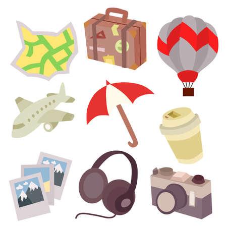 travel icon flat style set element illustration Çizim