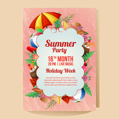 summer holiday party poster with umbrella beach season illustration