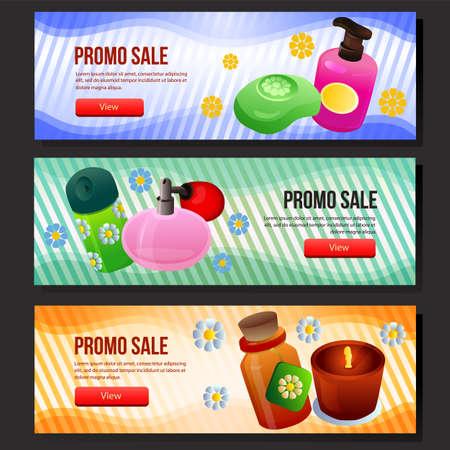 colorful cosmetics sale banner web set