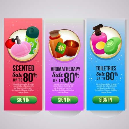 three vertical banner website cosmetics theme