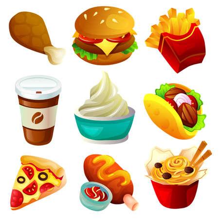 fast food take away food icon set Illustration