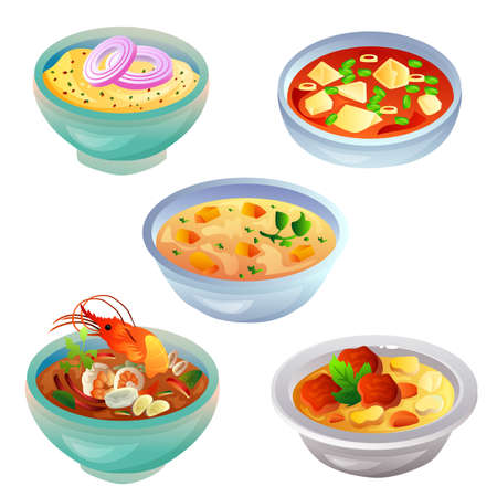 soup food item icon collection set