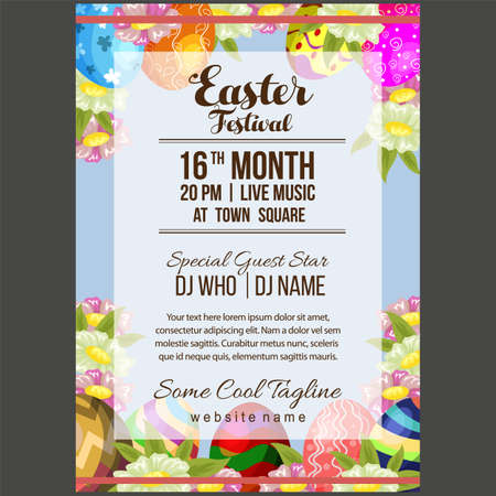 easter festival poster template with egg