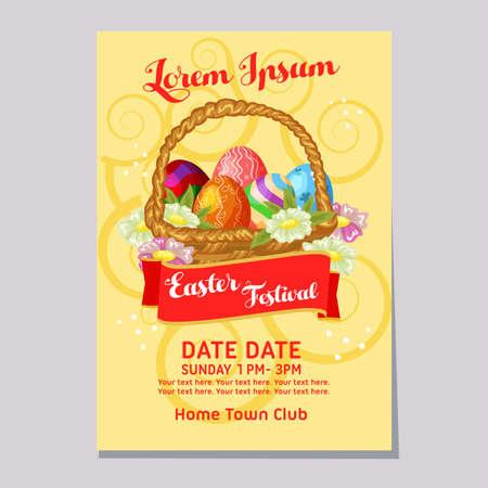 easter festival week plant flower egg poster template