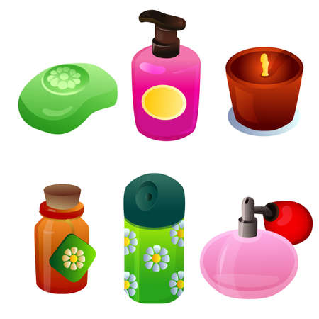 cosmetics glass item object set Illustration