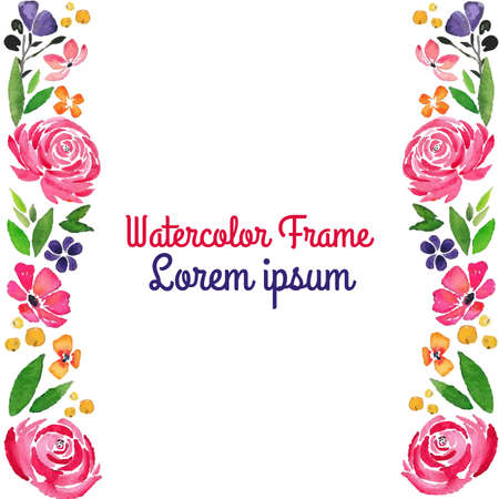 watercolor floral bloom vertical border frame with rose