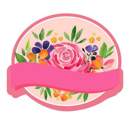 label floral watercolor rose theme Illustration