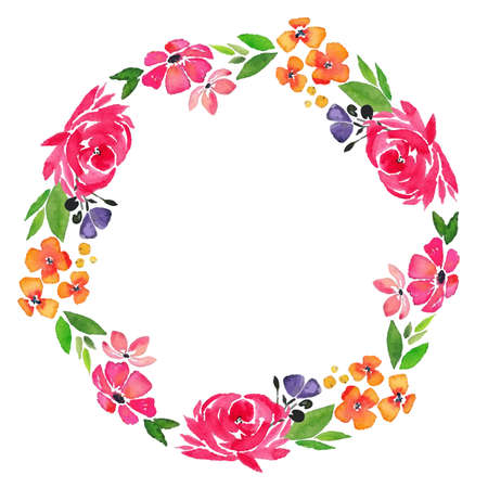 watercolor floral bloom wreath with red rose