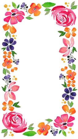 watercolor flower border for story