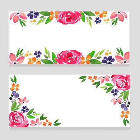 watercolor banner flower rose Illustration