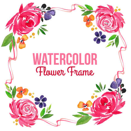 frame with floral watercolor ornate Illustration