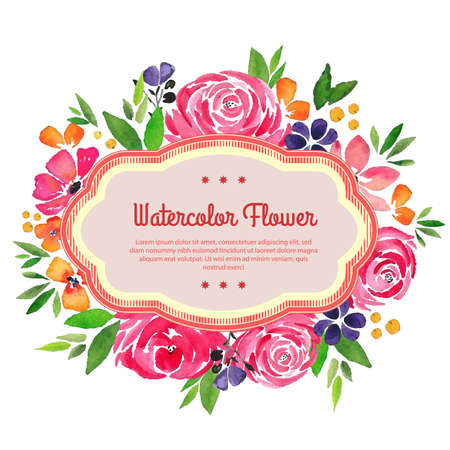 garden flower watercolor template spring rose