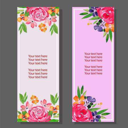 watercolor vertical banner with floral rose theme