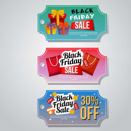 Black friday sale coupon gift box template set