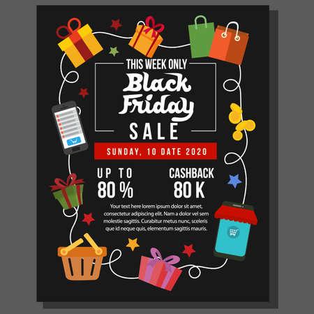 black friday poster sale with flat item set Illustration