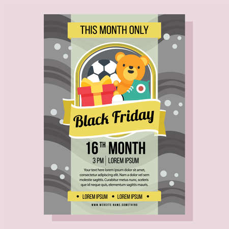 black friday poster with wave flat style Illustration