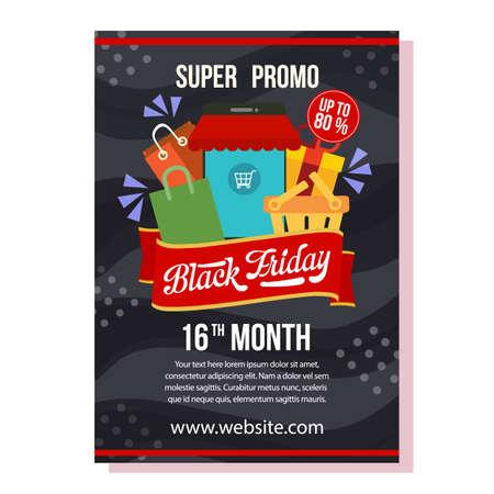 black friday flyer template shopping promo Illustration
