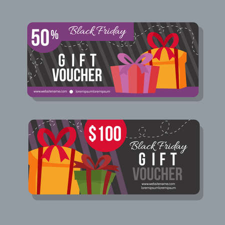 black friday gift coupon promotional template Illustration