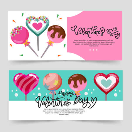 valentine theme banner with turquoise color and candy lollipop