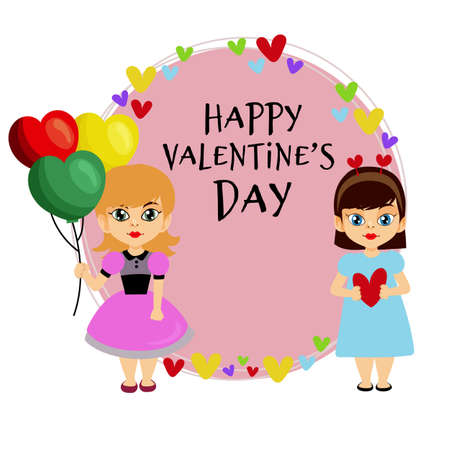 valentine round card with two little girl
