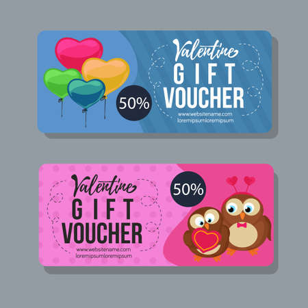 valentine gift voucher template with heart shape