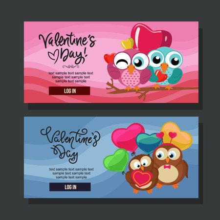 valentine sale banner horizontal flat owl and bird Illustration