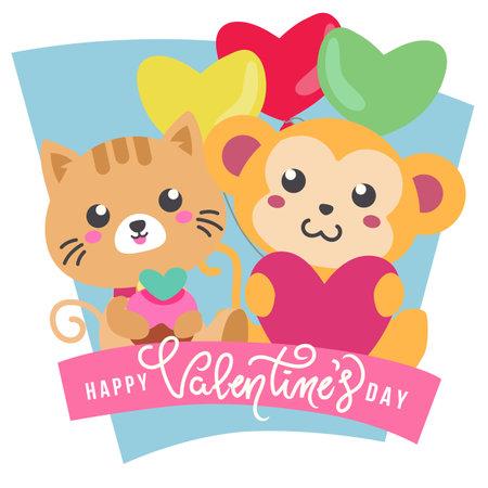 valentine theme cute monkey and cat