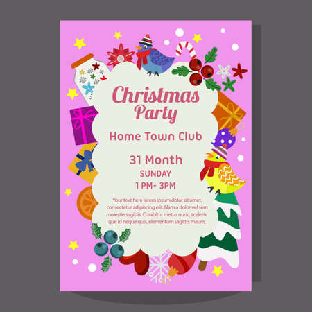 christmas party poster with flat element winter