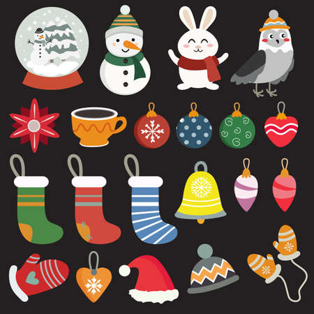 christmas element pack flat style