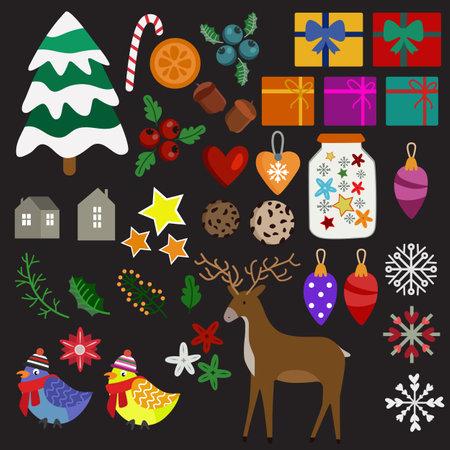 christmas element decorating flat style