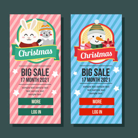 christmas banner vertical happy rabbit and snowman Illustration
