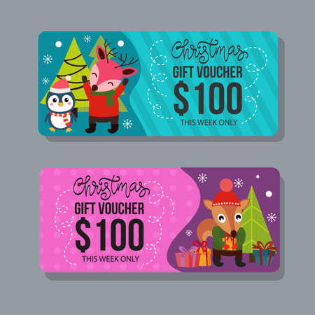 christmas gift voucher template with happy characters Illustration