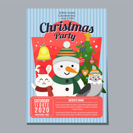 christmas party poster template snowman rabbit owl