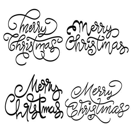 merry christmas lettering text set