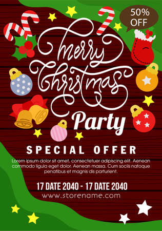 wooden christmas poster promo flat style element