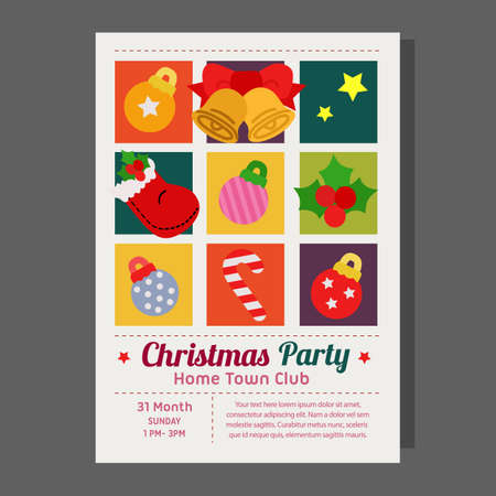 christmas party poster grid style flat element