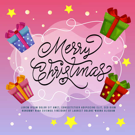 merry christmas card with gift box element Illustration
