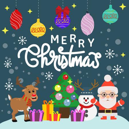 christmas card holiday joy with cartoon element