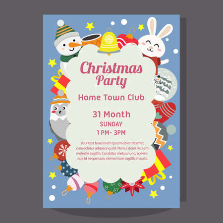 christmas party poster with happy snowman and rabbit