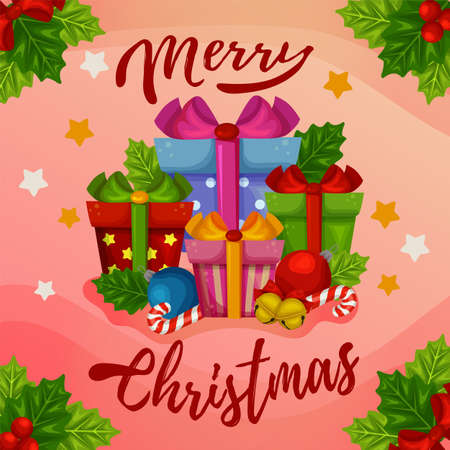 merry christmas card present gift box decoration