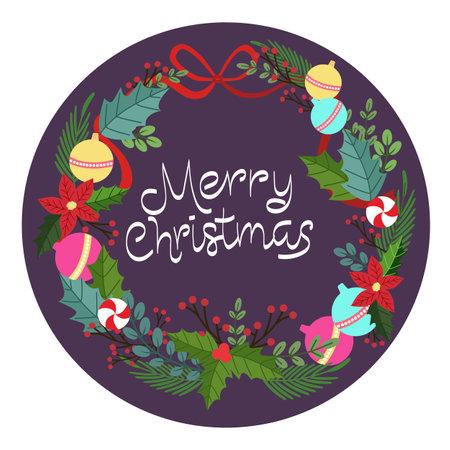 merry christmas winter wreath decoration
