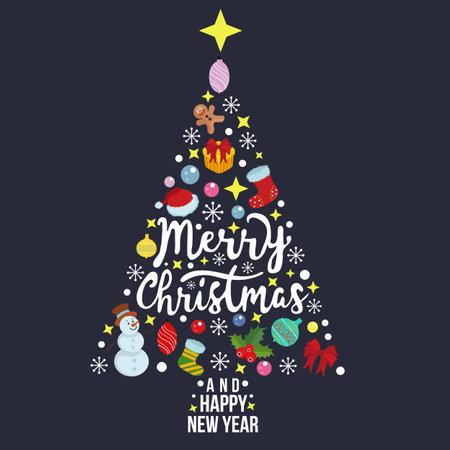 merry christmas card template pine tree shape Illustration