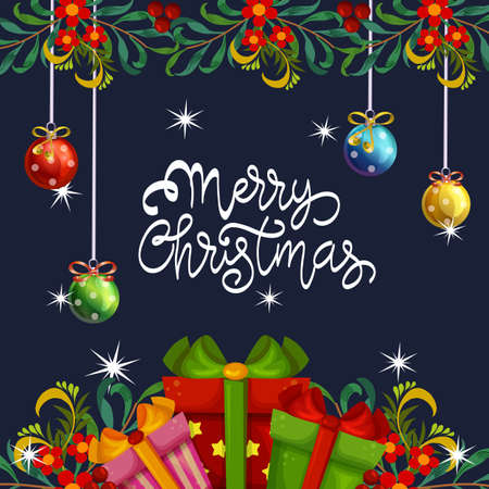 merry christmas card with ball and gift box decoration Illustration