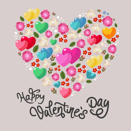 happy valentine shape heart with rose flower ornament Illustration