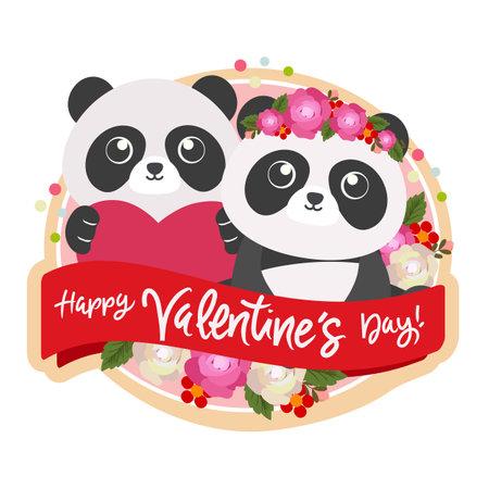 happy valentine day with couple panda Illustration