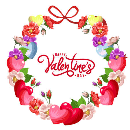 happy valentines day wreath flower decoration